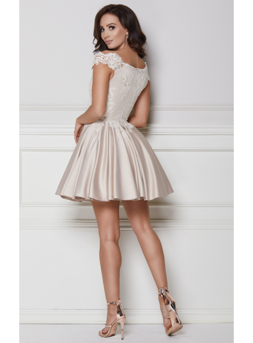 Mini béžové šaty s rozparkom - Alexis - XS
