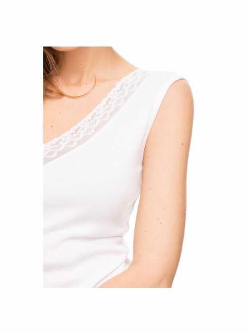 Top biely bez rukávov s čipkou - M
