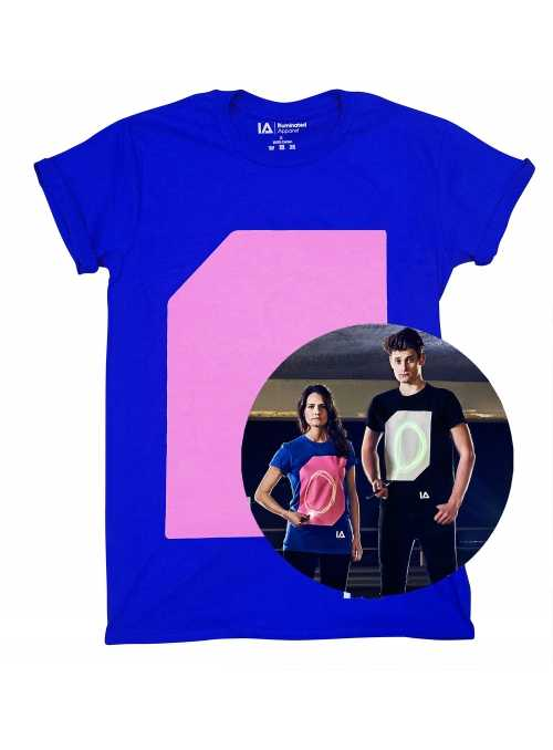 Modré zábavné iluminačné tričko /ružová svietiaca plocha/ + laser pero, S