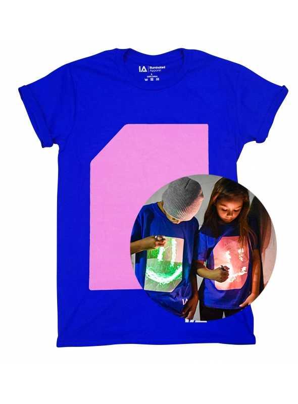 Modré detské zábavné iluminačné tričko /ružová svietiaca plocha/ + laser pero, 3-4 roky