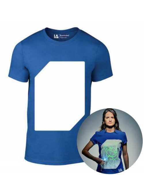 Modré zábavné iluminačné tričko /zelená svietiaca plocha/ + laser pero, S