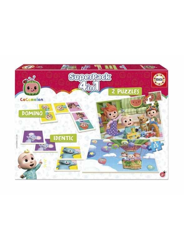 Cocomelon - superpack 4v1, domino, pexeso, 2xpuzzle