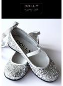 DOLLY baleríny 6GB stříbrno třpytivé