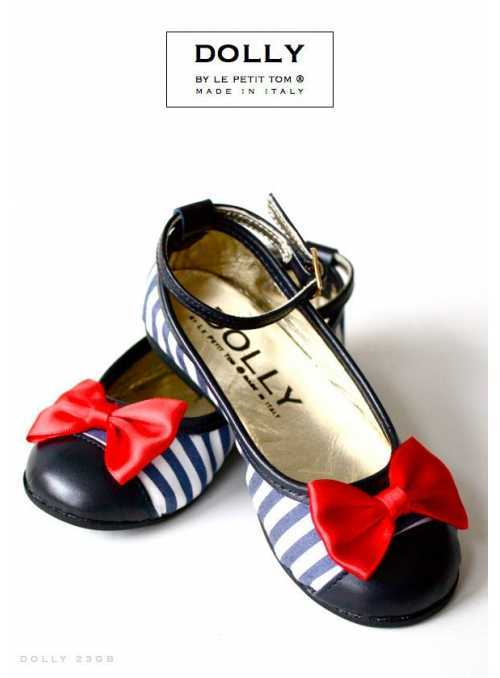BALLERINA'S 23GB NAVY STRIPES  & RED SATIN BOW