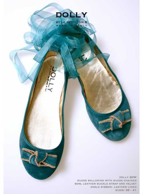 DOLLY by Le Petit Tom ® WOMEN BALLERINA'S 20W emerald suede