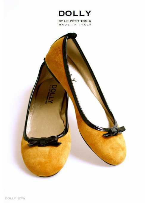 DOLLY by Le Petit Tom ® WOMEN BALLET FLATS 27W golden ochre soft suede