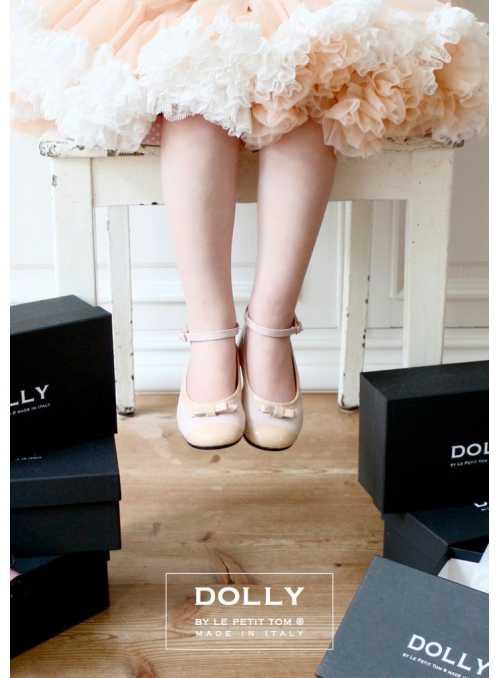 DOLLY by Le Petit Tom ® klasické dievčenské balerínky 20GB ružová koža + krémová špička a mašlička