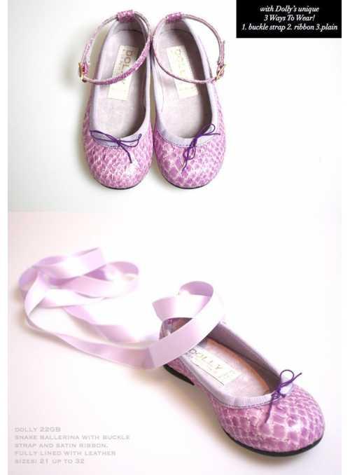 DOLLY by Le Petit Tom ® klasické dievčenské balerínky 22GB s hadím vzorom, levanduľové