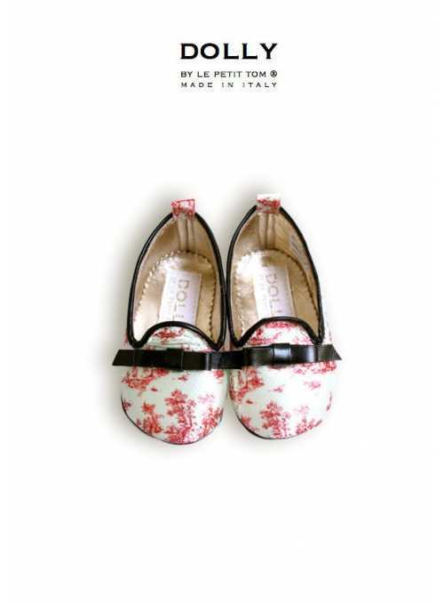 DOLLY by Le Petit Tom ® BABY SMOKING SLIPPERS 3SL TOILE DE JOUY satén