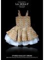 LA DOLLY Tvídové baletné šaty z LINTON TVÍDU – zlato/béžové