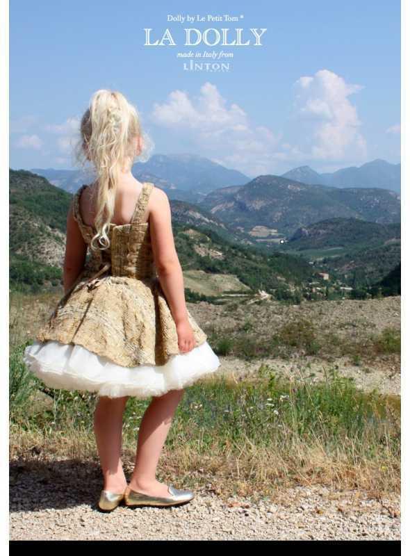d5313e331eb8 Znížená cena LA DOLLY Tvídové baletní šaty z LINTON tvídu - zlato   béžové