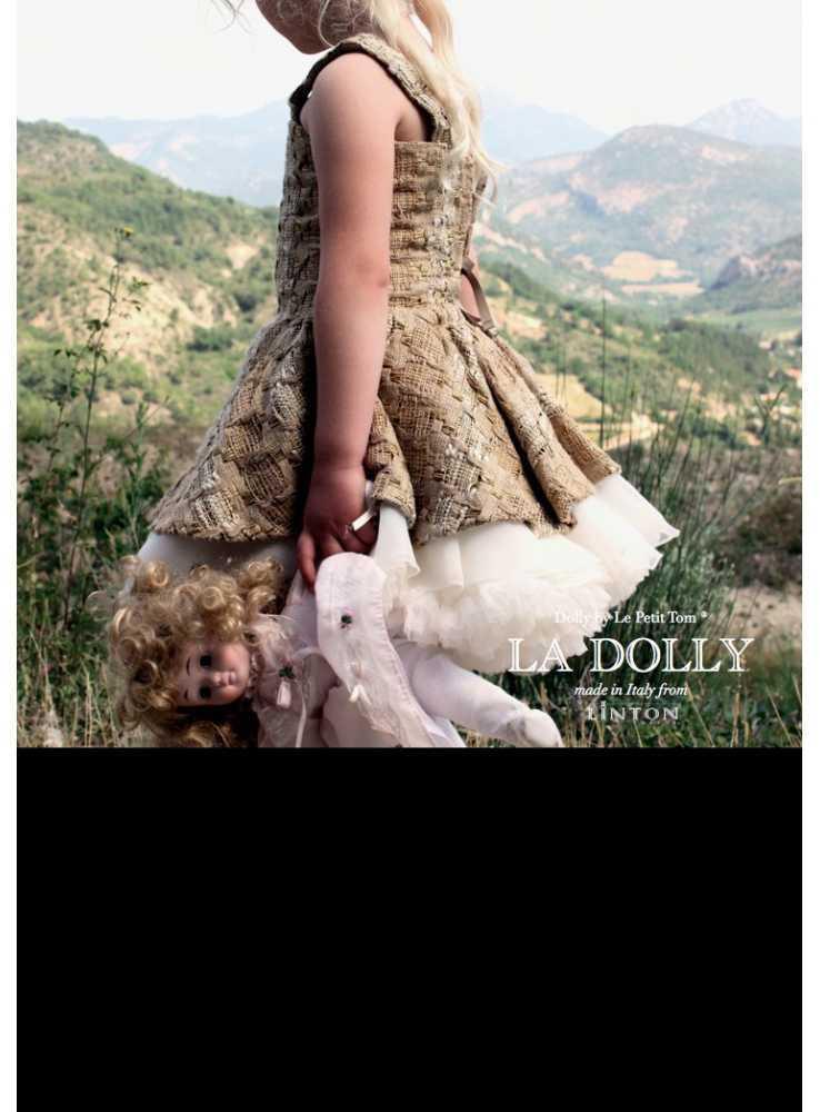c62c2f2c4fcc LA DOLLY Tvídové baletní šaty z LINTON tvídu - zlato   béžové - Dadoo
