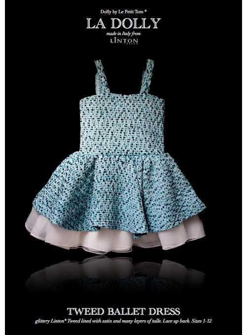 LA DOLLY Tvídové baletné šaty z LINTON TVÍDU – modré