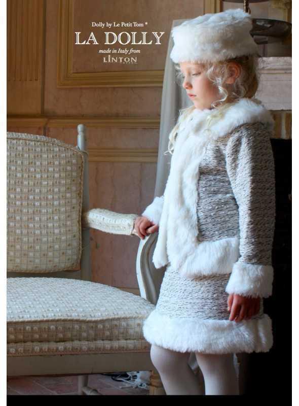 LA DOLLY Zimný kostým LINTON TVÍDU – bielo/ľadovomodrá