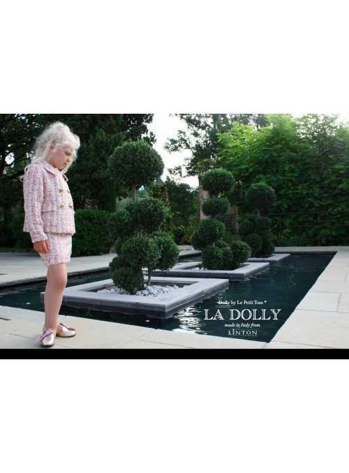 LA DOLLY Biznis kostým LINTON TVÍDU – ružový trblietavý