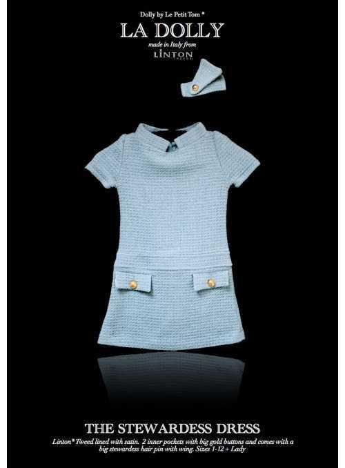 """LA DOLLY šaty """"LETUŠKA"""" z LINTON TVÍDU – modré"""