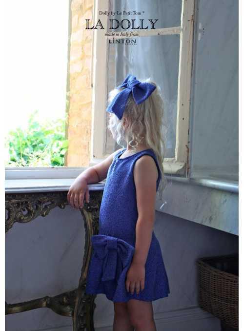 LA DOLLY PRINCEZNIČKOVSKÉ šaty z LINTON TVÍDU – modré