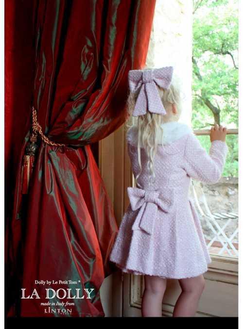 LA DOLLY PRINCEZNIČKOVSKÝ kabát z LINTON TVÍDU – ružový