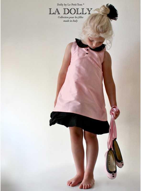 """LA DOLLY šaty """"BÁBIKA""""–ružové s čiernym golierikom"""