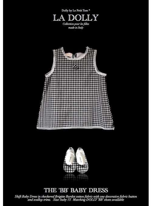 """LA DOLLY """"BB baby šaty"""" – černé kárované"""