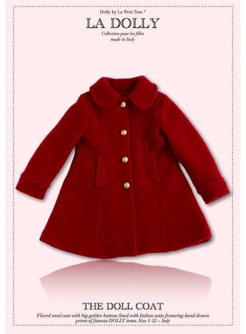 """LA DOLLY vlnený """"bábikovský kabát"""" - červený"""