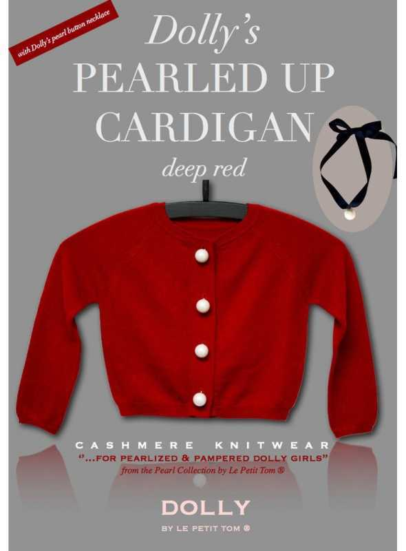 PEARLED UP CASHMERE CARDIGAN red