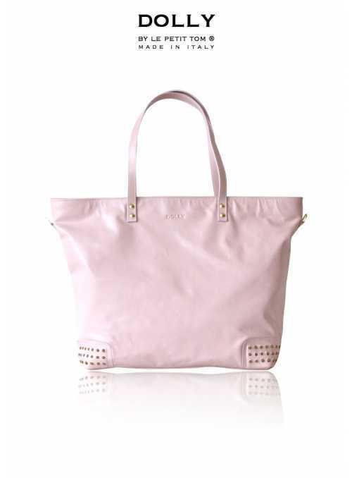 DOLLY MOCCASIN kabelka bledo ružová koža