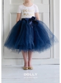 ROMANTIC LONG TUTU white + blue ribbon