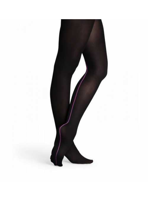 Happy Socks tights black with purple stripe