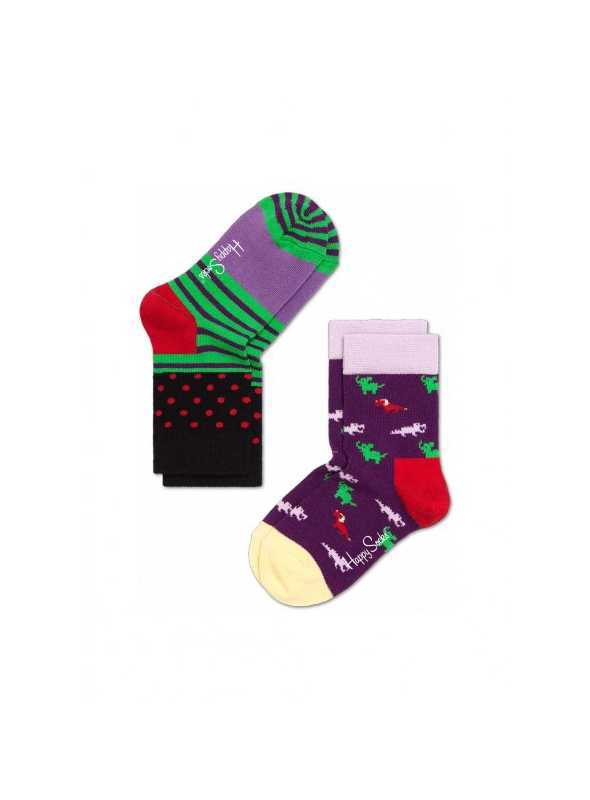 Happy Socks 2-package: children socks – little animals + pinstripes /purple and green/