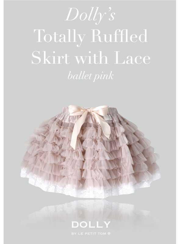 DOLLY úplne nariasená tutu sukňa s čipkou – baletná ružová