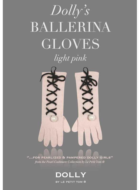 DOLLY perličkové ballerina kašmírové rukavice - bledoružové