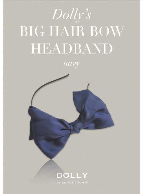 DOLLY by Le Petit Tom ® luxusná šifónová čelenka s veľkou mašľou – námornícka modrá