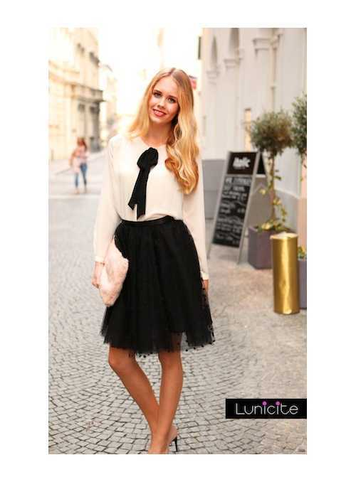 Lunicite BLACK PEA – exclusive tulle skirt with dots, black