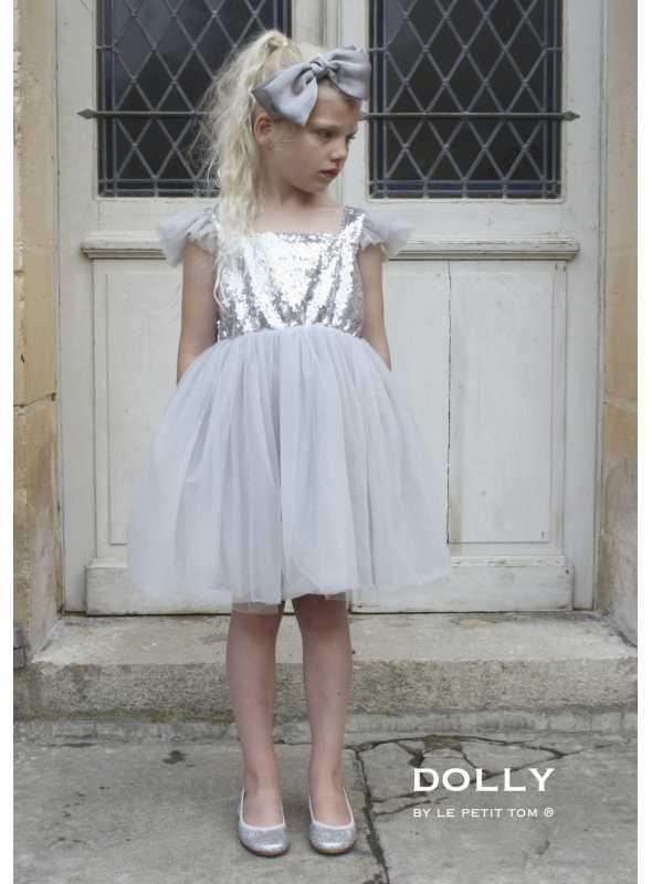 DOLLY šaty Anjelske krídla, striebristo šedé