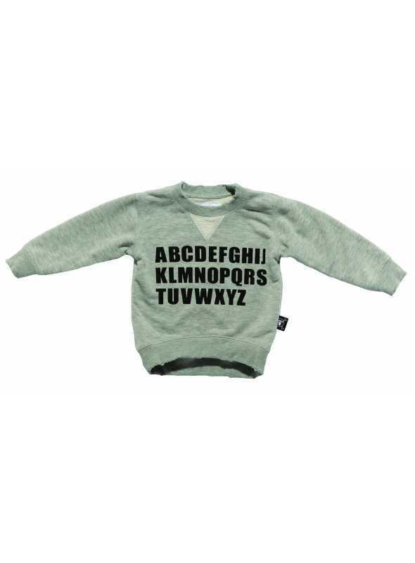 Detský sveter s abecedou, šedý