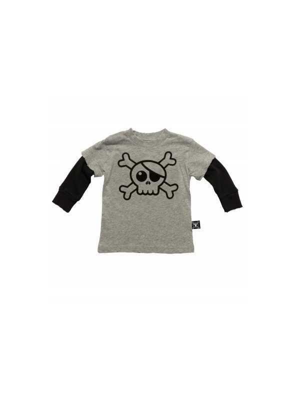 Dětské tričko s dlouhým rukávem a lebkou! Šedé