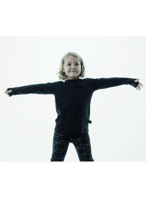 Detské tričko s dlhým rukávom a rukavicovým efektom, šedé