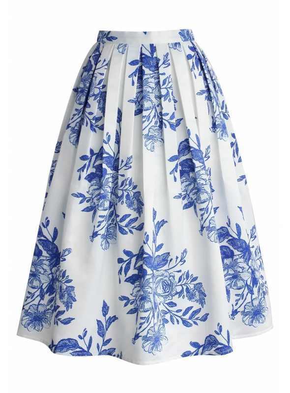"""Midi sukňa """"Modré atramentové kvety"""""""