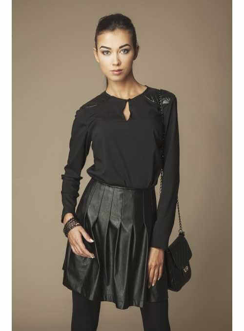 Black blouse with leather accessories on shoulders