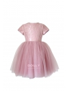 Exkluzívne Minuet čipkové šaty s krátkym rukávom, pudrovo ružové