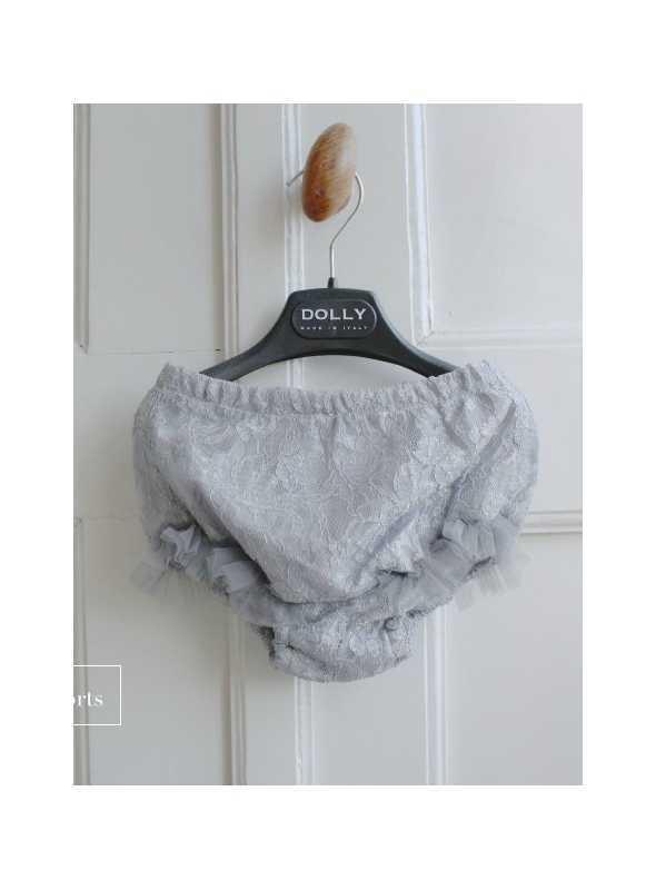 Exkluzívne Petite čipkové šortky so šifónovými volánmi, striebristo šedé