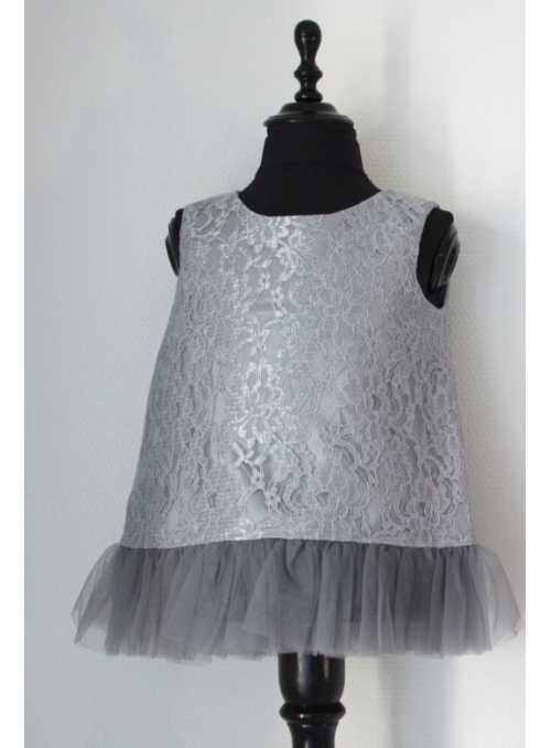 Exclusive Petite lace top with chiffon ruffles, silvery gray